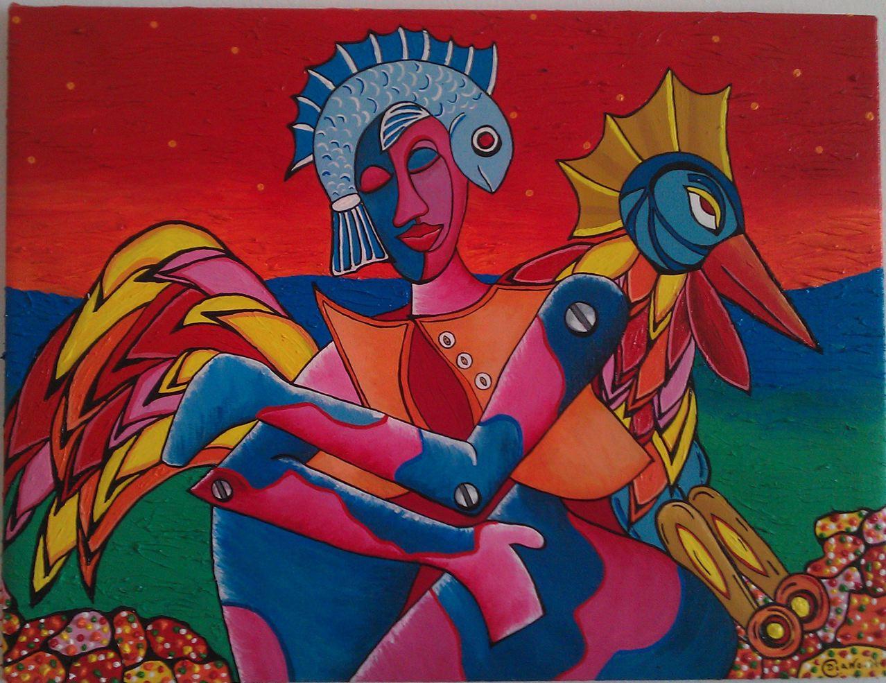 Mujer con pez y gallo
